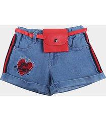 shorts jeans infantil plural kids c/ pochete girl power menina