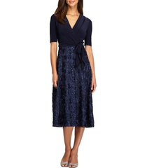 alex evenings embellished surplice cocktail dress, size 16p in navy at nordstrom
