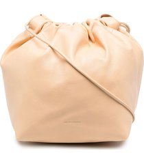 jil sander ruched drawstring crossbody bag - neutrals