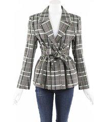 rosie assoulin tie front peplum blazer green/gray sz: m