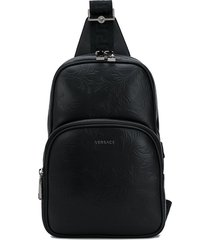 versace barocco-embossed single-strap backpack - black