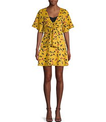 floral-print tie-front day dress