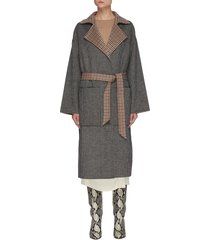 'core alamo' belted reversible check wool coat