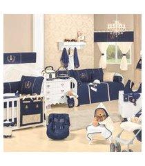 quarto sem cama babá realeza luxo azul marinho