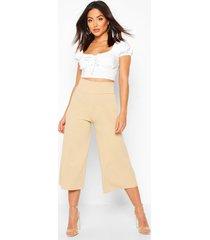 deep contour waistband wide leg culottes, stone