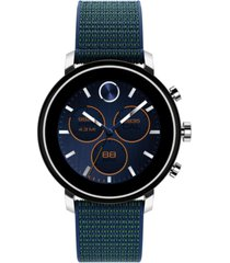 movado connect 2.0 navy blue fabric strap hybrid touchscreen smart watch 42mm