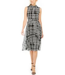 karl lagerfeld plaid sleeveless midi dress