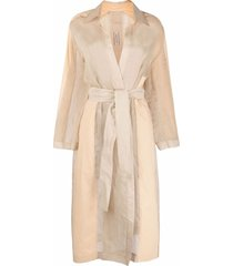 gentry portofino semi-sheer long-length coat - neutrals