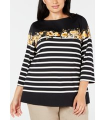 charter club plus size striped boat-neck top, created for macy's