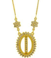 colar letra horus import i zircônias - dourado
