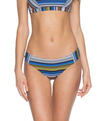 women's becca babylon bikini bottoms, size small - blue