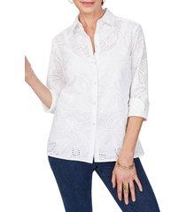 women's foxcroft morgan tropical eyelet shirt, size 14 - white