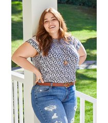 maurices plus size womens mixed floral print flutter sleeve top blue