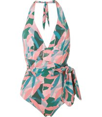 track & field abstrata print tf power swimsuit - pink