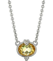 ambrosia sterling silver, canary cubic zirconia & white topaz pendant necklace