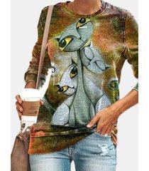 camicetta casual da donna a maniche lunghe con stampa gatto o scollo