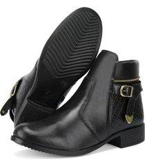 bota coturno cano curto sapatofran com zíper feminina