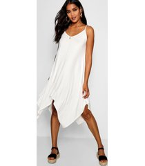 asymmetric hem strappy swing dress, ivory