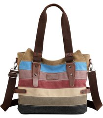 kvky donna borsa a mano in tela a righe a contrasto di colore borsa a spalla fd92cd8e745