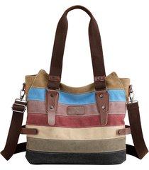 kvky donna borsa a mano in tela a righe a contrasto di colore borsa a spalla