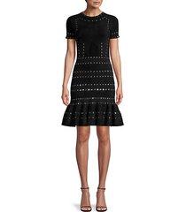 grommet-trim knit short-sleeve flounce dress