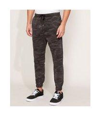 calça de sarja masculina jogger estampada camuflada com bolsos chumbo