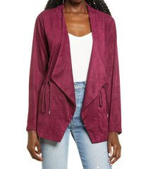 women's blanknyc faux suede drapey jacket, size large - pink