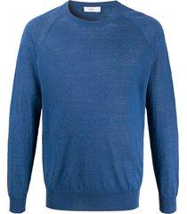 closed crew neck lightweight pullover - blue
