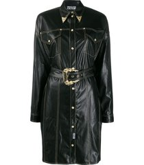 versace jeans couture cowboy shirt dress - black