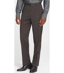 canali flat front classic fit wool dress pants, size 30 us in brown at nordstrom