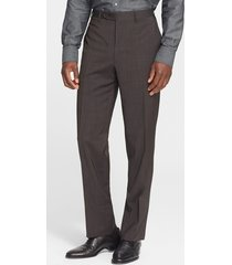 men's canali flat front classic fit wool dress pants, size 48r eu - brown