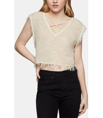 bcbgeneration fringe-trim crop top