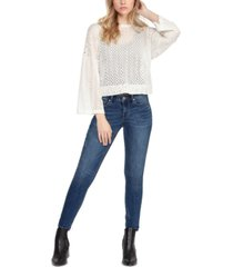 black tape cotton fine-gauge crochet sweater
