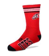 for bare feet youth utah utes 4 stripe deuce crew socks