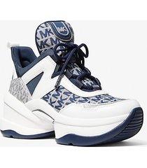 mk sneaker olympia in pelle con logo jacquard - denim cangiante (blu) - michael kors