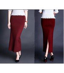 elegant women long solid skirt winter skirts knitted dropping line slim