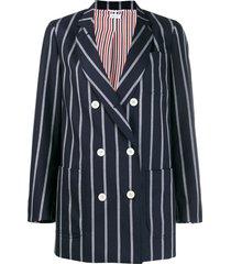 thom browne vertical-stripe sack jacket - blue