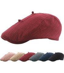 berretto beret in lino in cotone stile etnico vogue a tinta unita