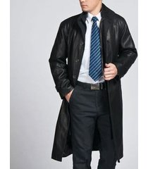 men leather coat winter long  leather coat genuine real leather trench coat-uk37