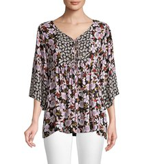johnny was women's jade ameesha floral peasant blouse - size m
