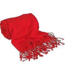 forzieri designer scarves, red pashmina & silk shawl