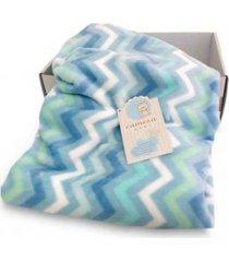 cobertor bebê microfibra flannel camesa chevron azul - kanui