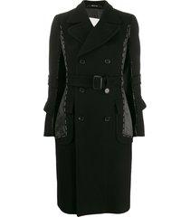 maison margiela stitched double-breasted coat - black