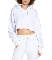 women's blanc noir yolo contrast stitch high/low hoodie