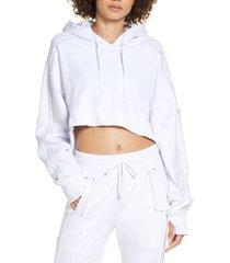 women's blanc noir yolo contrast stitch high/low hoodie, size medium - white