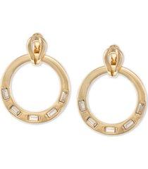 laundry by shelli segal gold-tone crystal doorknocker drop earrings