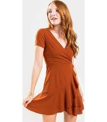 shellie flounce surplice mini dress - rust