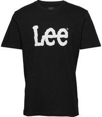 wobbly logo tee t-shirts short-sleeved svart lee jeans