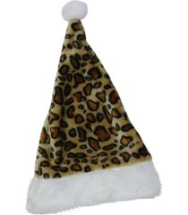 "northlight 16.5"" brown and white cheetah print christmas santa hat with white faux fur brim"