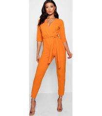 wrap jumpsuit, orange